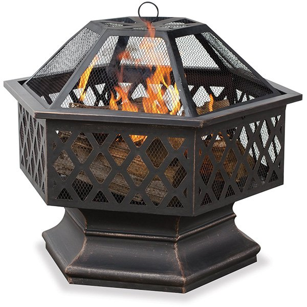 UniFlame Hex Shaped Outdoor Fire Bowl with Lattice, Oil Rubbed Bronze photo