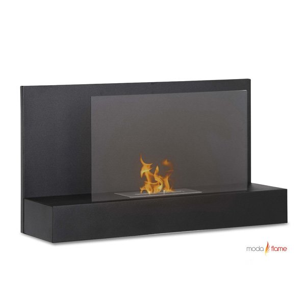 Moda Flame Mira Wall Mounted Ethanol Fireplace In Black photo