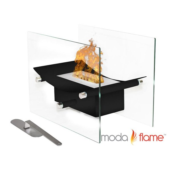 Moda Flame Cavo Table Top Ventless Bio Ethanol Fireplace in Black photo