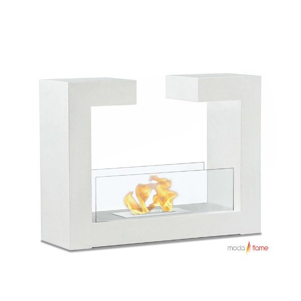 Moda Flame Beja Free Standing Ethanol Fireplace in White photo