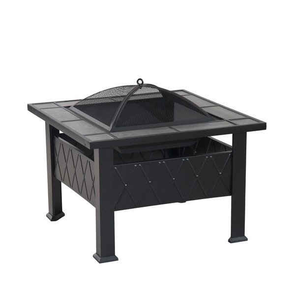 Outsunny Outdoor Craftsman Style Square Backyard Patio Fire Pit, 29-Inch photo