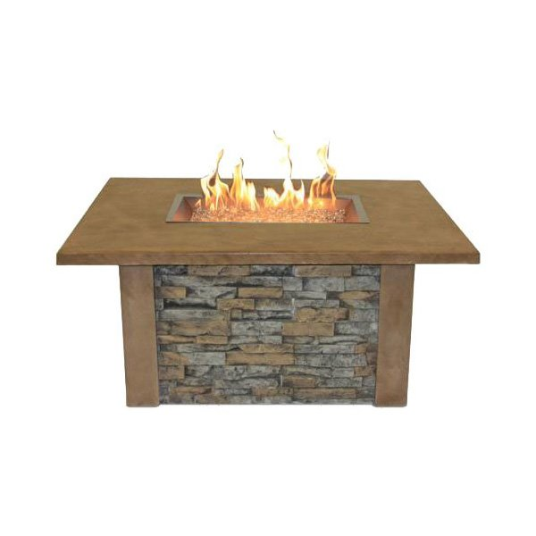The Outdoor GreatRoom Company Sierra Fire Pit with Super Cast Top in Mocha with Rectangle Burner photo