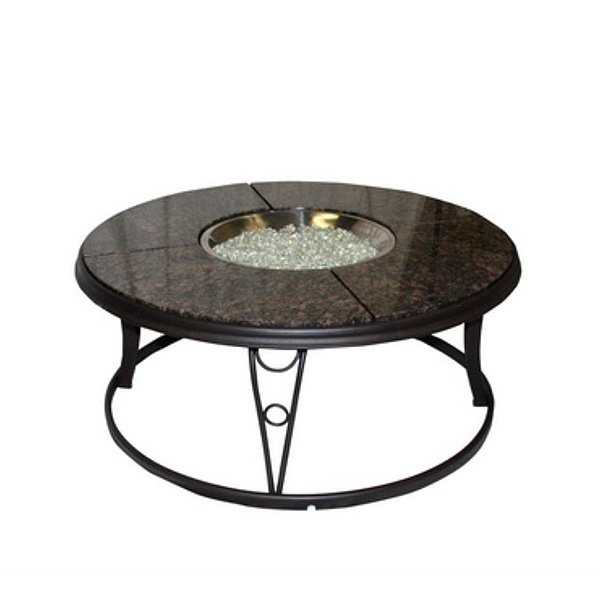 Outdoor Greatroom Granite 42 Inch Round Gas Fire Pit Table photo