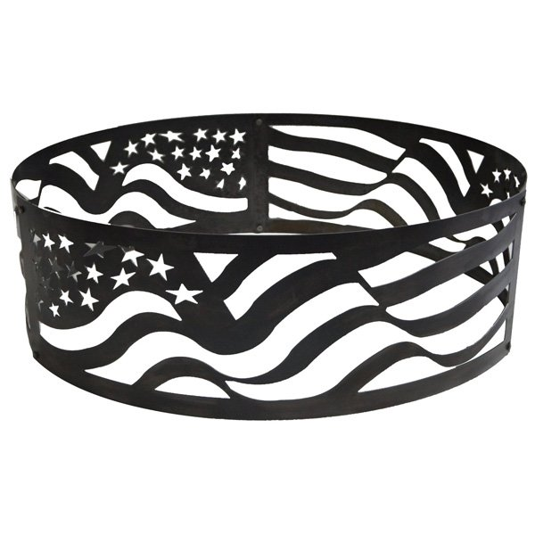 P&D Metal Works American Flag Fire Pit Ring photo