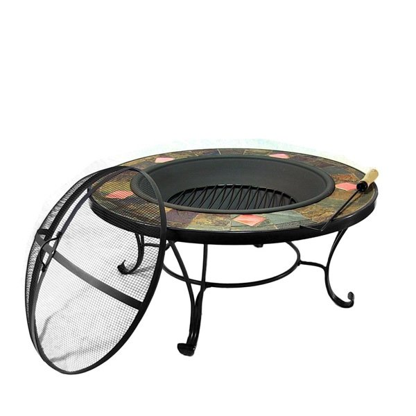 Sunnydaze Mosaic Fire Pit Table with Copper Accents photo