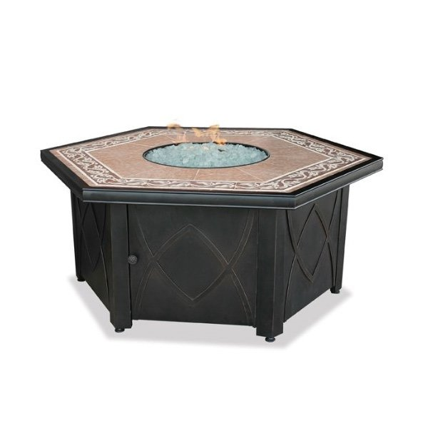 UniFlame GAD1380SP Lp Gas Outdoor Firebowl with Decorative Tile Mantel photo