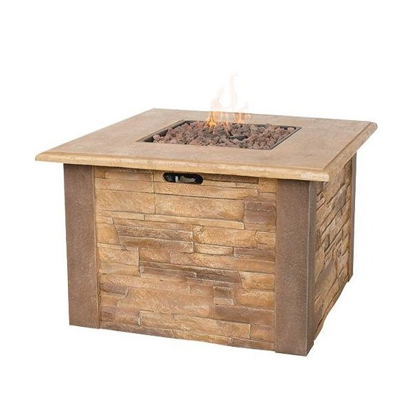 UniFlame LP Gas Outdoor Fire Bowl with Faux Stacked Stone photo